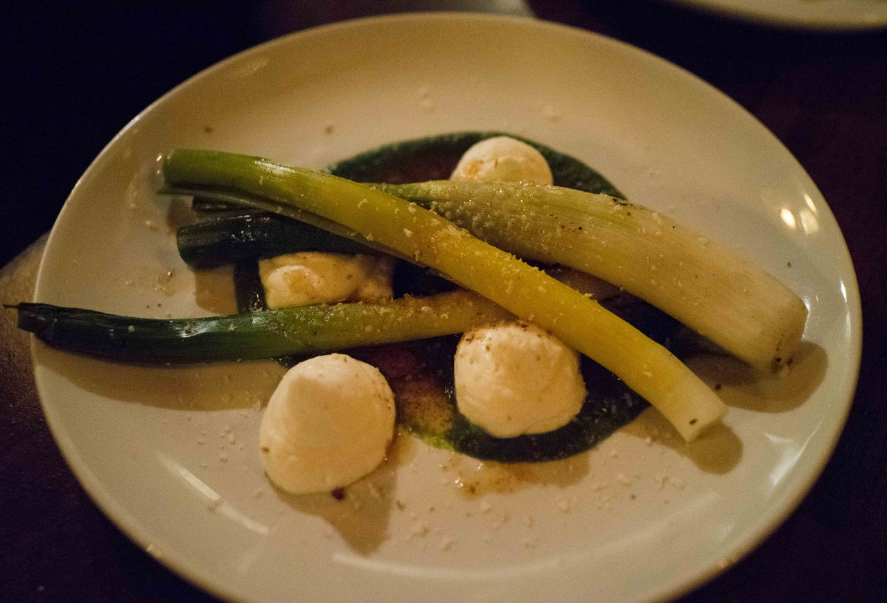 Grilled Leeks, Goat's Curd, Brown Butter & Smoked Almonds