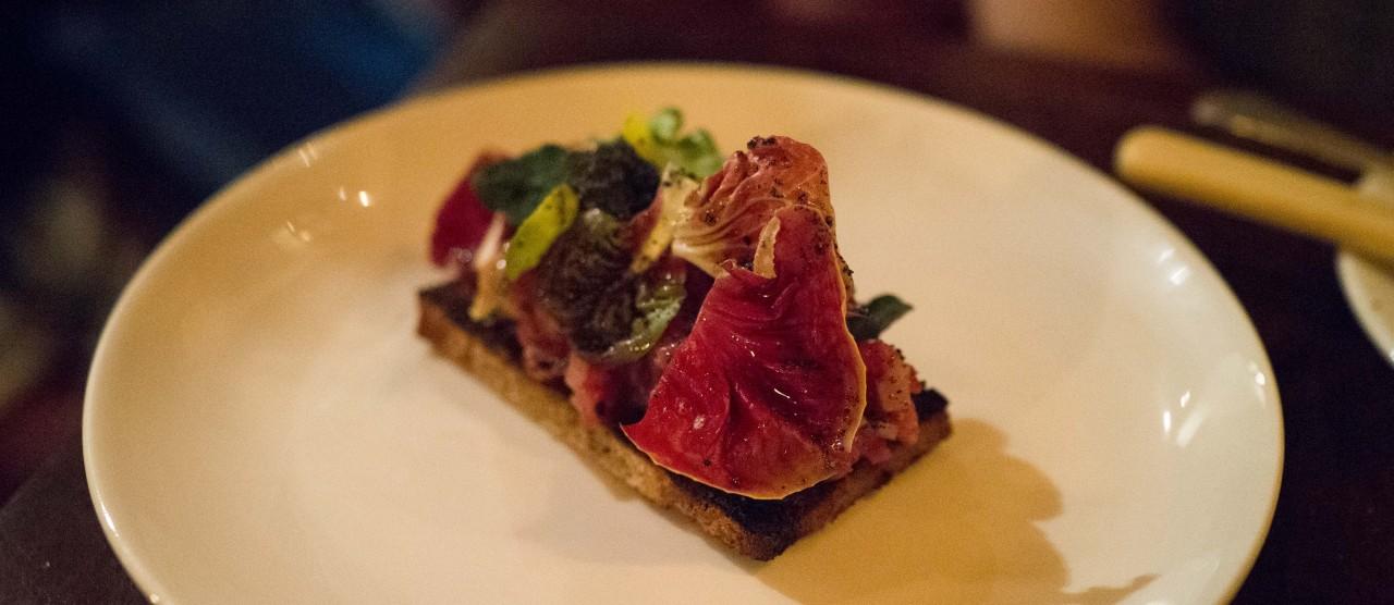 Beef Tartar, Rosemary, Nasturtium & Rye