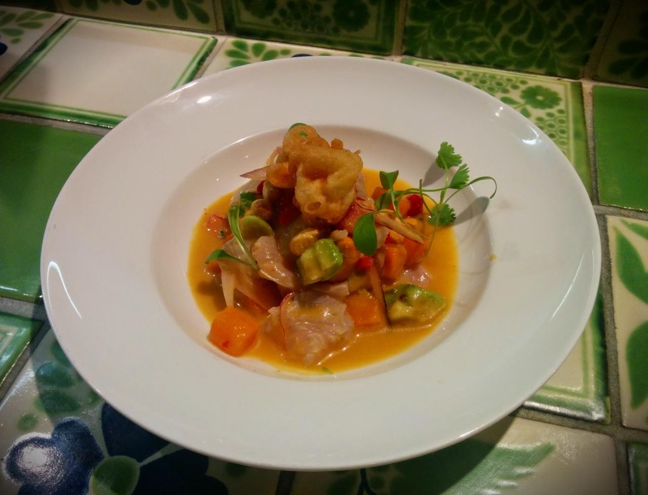 Sea Bream ceviche with aji amarillo tiger's milk, avocado & tempura baby squid