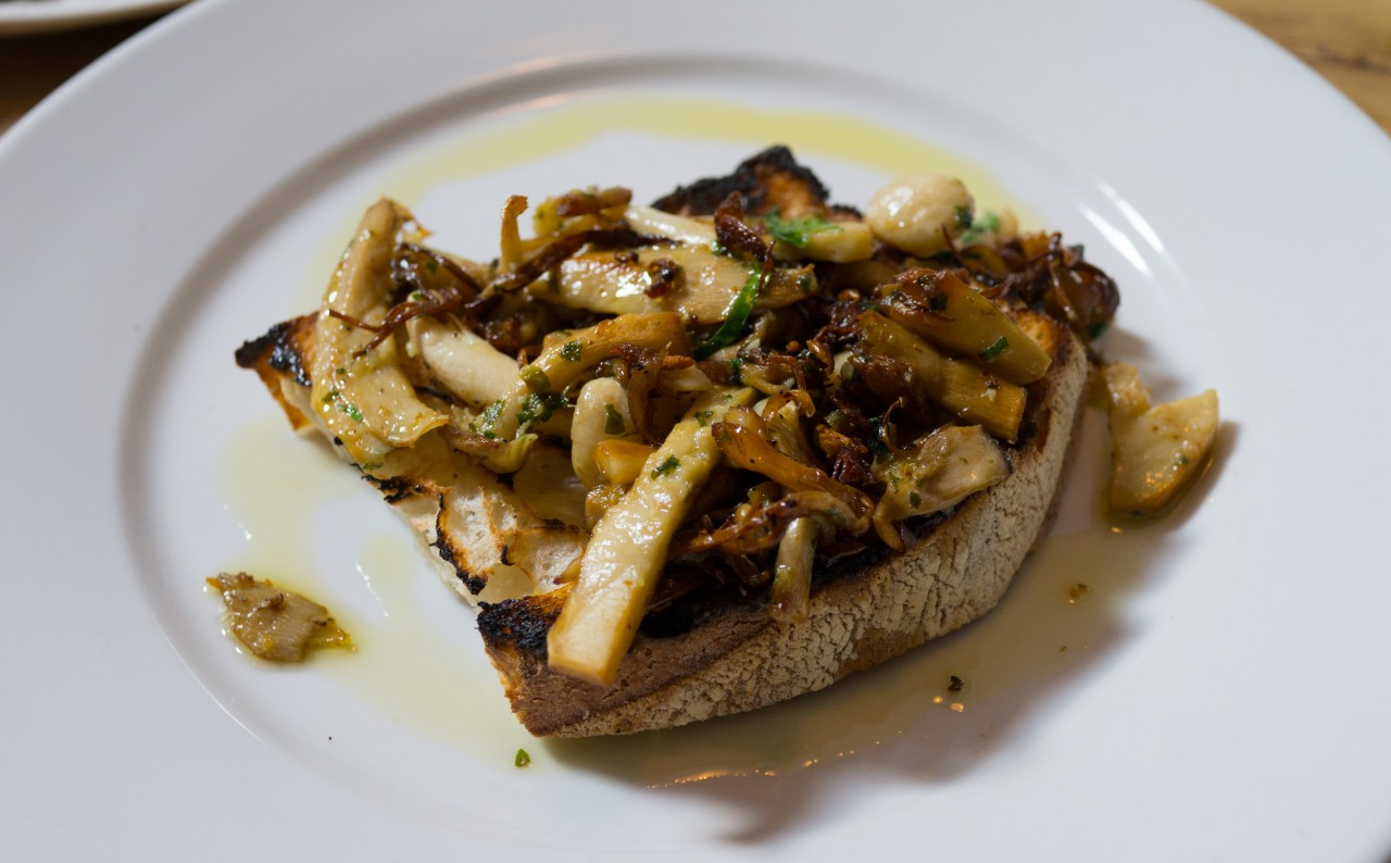 Wild mushrooms on toast with garlic butter